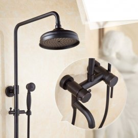 Black Brass 8 Antique Faucet Rainfall Shower Head and Handshower 2