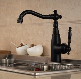 Black Deck Mounted Oil-Rubbed Bronze Kitchen Sink Mixer Faucet
