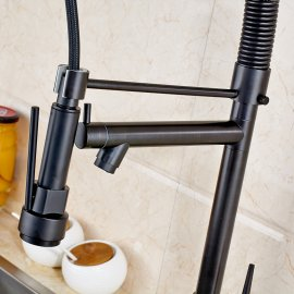 Black Kitchen Sink Faucet With Pull Down Mixer Faucet