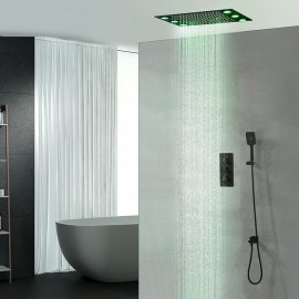 Juno Luxury Matte Black20InchCeilingMountLED 3FunctionSquareShowerhead With Mixer and Showerarm
