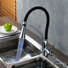 Black Pull Out LED Single Handle Kitchen Faucet