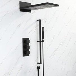 Juno Black Thermostatic Bathroom  Rain Shower Faucet Set