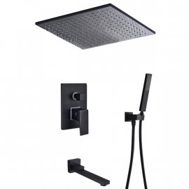Black Square 16 Inches Water Rainfall Shower Head with Mixer Faucet