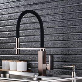 Black Square Base Single Handle Kitchen Faucet with Soap Dispenser