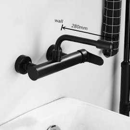 Juno New Brass 360 Rotate Wall Mount Dual Hole Single handle Bathroom Sink Faucet