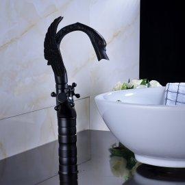 Black Water Dragon Dual Handle Deck Mounted Bathroom Sink Faucet