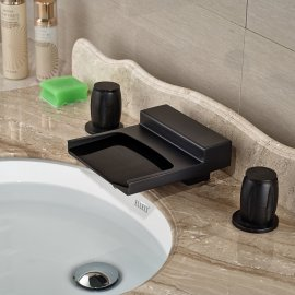 Black Widespread Waterfall Dual Handle Bathroom Sink Faucet
