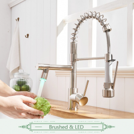 Brushed Nickel LED Hot & Cold Kitchen Sink Faucet