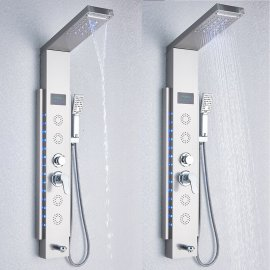 Juno Wall Mounted Bathroom Steel Massage Shower System With Spout
