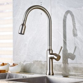 Brushed Nickel Kitchen Sink Faucet with Pull Out Sprayer in Action