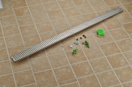 Brushed Nickel Linear Stainless Steel Long Shower Drain System