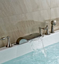 Brushed Nickel Roman Tub Faucets Mixer Tap with Hand Held Shower Head