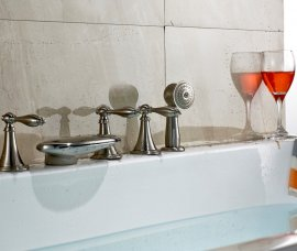 Brushed Waterfall Bathtub Filler with Hand Shower