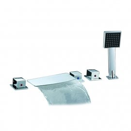 Triple handle waterfall roman tub faucets with Square handheld shower