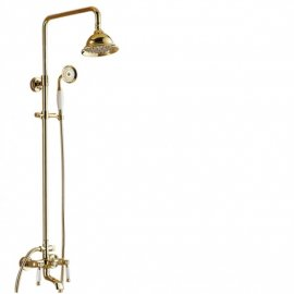 Ceramic Shower Faucet Mixer With Gold Finish 4
