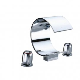 Chrome Waterfall Sink and Bathtub Faucet