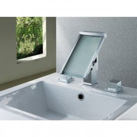 Widespread Waterfall Bathroom Sink Faucet Chrome Finish
