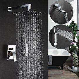 Chrome Wall Mounted Rain Waterfall with Bathroom Handheld Shower Head