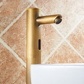 Classic Antique Brass Automatic Sensor Bathroom Faucet