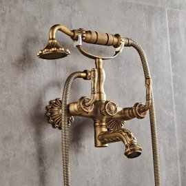 Classic Antique Brass Wall Mount bathroom Faucet with Hand Held Shower