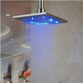 Rain Shower Head Color Changing LED Brushed Nickle Finish