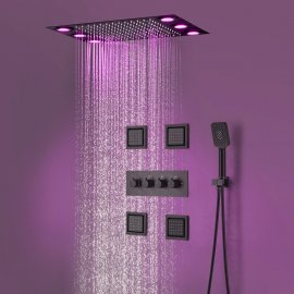 Juno Concealed 3 Functions Black LED Shower Head with 4 Inch Body Jets