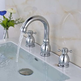 Contemporary Deck Mounted Dual Handle Bathroom Faucet