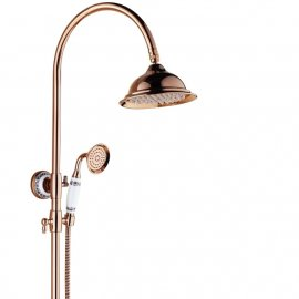 Contemporary Rose Gold Single Handle Bathroom Shower with Hand Held Shower