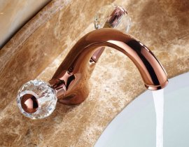 Crystal Handle Rose Gold Chrome Finish Deck Mount Bathroom Basin Faucet in Gold Faucet