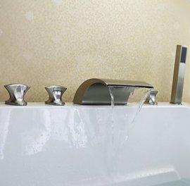 Triple Handle Waterfall Bathtub Filler Faucet