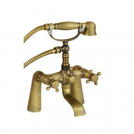 Junoshowers deck mount antique solid brass body claw foot bathtub faucet with hand held shower head is on sale now with FREE shipping to all over USA. Modern stylish design completely brushed nickel finish to match or stand out from your other bathroom fi