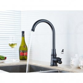 Deck Mounted Oil Rubbed Black Bronze Basin Kitchen Faucet  1
