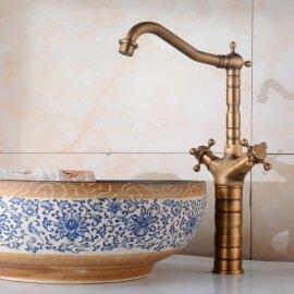 Double Handle Antique Bronze Tall Bathroom Mixer Faucet