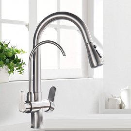Double Nozzle Filtered Kitchen Removable Sprayer Drinking Water Kitchen Faucet