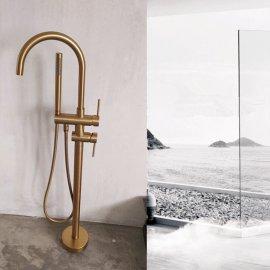 Juno Classic Bathroom Brushed gold Floor Mount Bathtub Faucet Shower System