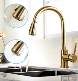Gold Finish Touch Kitchen Sensor Faucet With Pull Down Sprayer