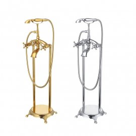 Juno Luxury Copper Freestanding Bathtub Hot and Cold Faucet Set with Telephone Handshower