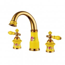 Juno Beautiful Deck Mount Colorful Floral Bathroom/ Bathtub Mixer Faucet Set