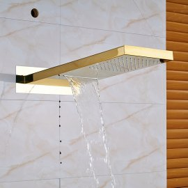 Gold Finish LED Rain Waterfall Bathroom Faucet Shower Head with Handheld Shower