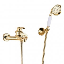 Juno Gold Polished Single Handle Wall Installation Bathtub Faucet with Handheld Shower