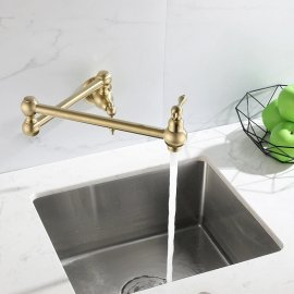 360 Foldable Brass Wall Mount Single Handle Kitchen Sink Cold & Hot Faucet