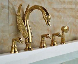Gold Swan Baby Handle Deck Mount with Spray Hand Shower