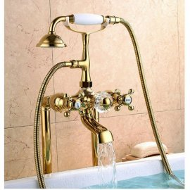 Golden Vintage Deck Mounted Clawfoot Tub Filler Faucet  2