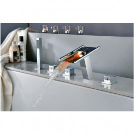 LED Waterfall Bathroom Faucet for Bath Tubs with Hand Shower