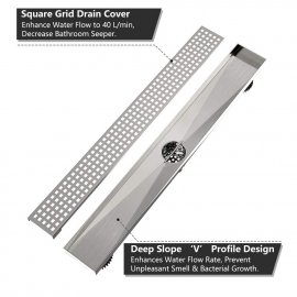 Juno 24 Inch Rectangular Grate Linear Drain for Shower In Brushed Nickel With Threaded Adapter