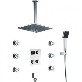 Thermostatic Ceiling Mount Large Shower Head In-wall Shower Faucet