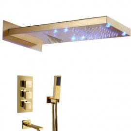 Lava Wall Mount Color Changing LED Gold Finish Shower Set with Handheld Shower Head