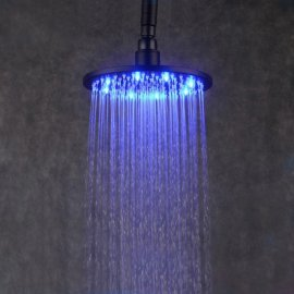 Juno 10 inch Brass Chrome Water Powered LED Shower Head 16 LED Lights