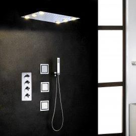 Juno 1420 Inch Recessed Mount LED Shower Head & 3 Massage Body Shower Jets