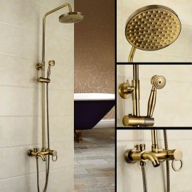 Juno Amazing Ultra Thin Round Gold Single Handle Wall Mount Shower with Hand-Held Shower